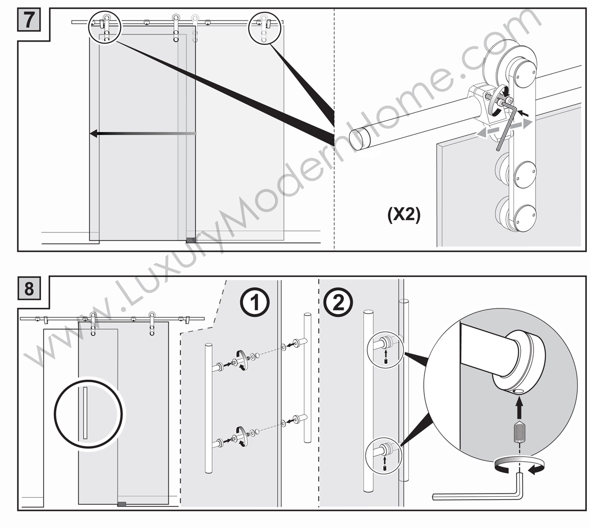 Berlin Double Sliding Glass Door Hardware 100 Opening Max