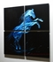 "Blue Horse - 32"" x 32"" Metal 3D Wall Art - 4 Piece Art"