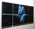 "Blue Pulse - 24"" x 48"" Metal 3D Wall Art - 3 Piece Art"