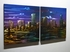 "City Nightscape 1 - 20"" x 40"" Metal 3D Wall Art - 2 Piece Art"