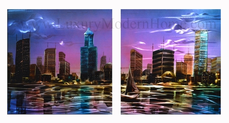 "City Nightscape 1 - 20"" x 40"" Metal Wall Art"