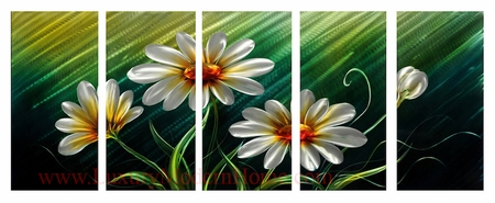 "Daisy Flowers - 24"" x 60"" Metal 3D Wall Art - 5 Piece Art"