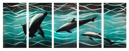 "Dolphins 2 - 24"" x 60"" Metal Wall Art"