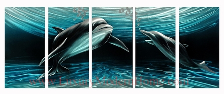"Dolphins - 24"" x 60"""