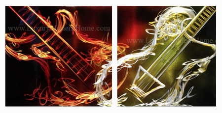 "Flaming Guitar - 20"" x 40"" Metal 3D Wall Art - 2 Piece Art"