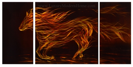 """Flaming Horse - 24"""" x 48"""""""