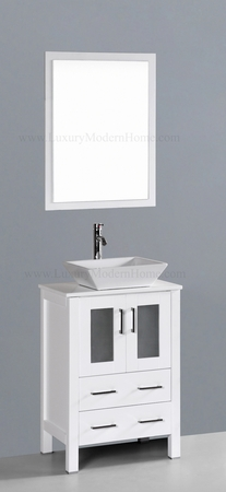 "MARCUS 2 - 24"" Freestanding White Vessel Sink"