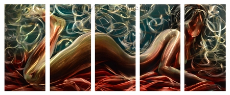 "Nude 1 - 24"" x 60"" Metal 3D Wall Art - 5 Piece Art"