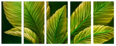 "Peace Lily Leaves - 24"" x 60"" Metal 3D Wall Art - 5 Piece Art"