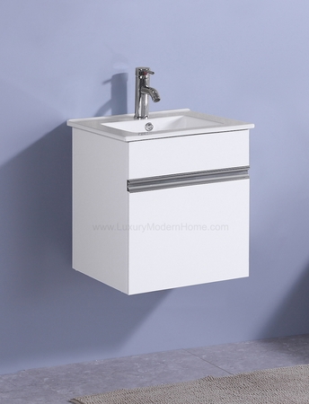 "PETRONIUS - 16.5"" x 16.5"" x 20"" Square Small White Vanity Sink"