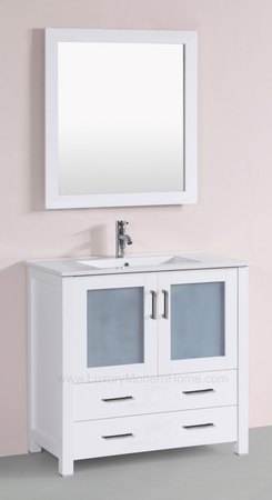 "PETRONIUS 2 - 36"" Freestanding White Vanity Sink"