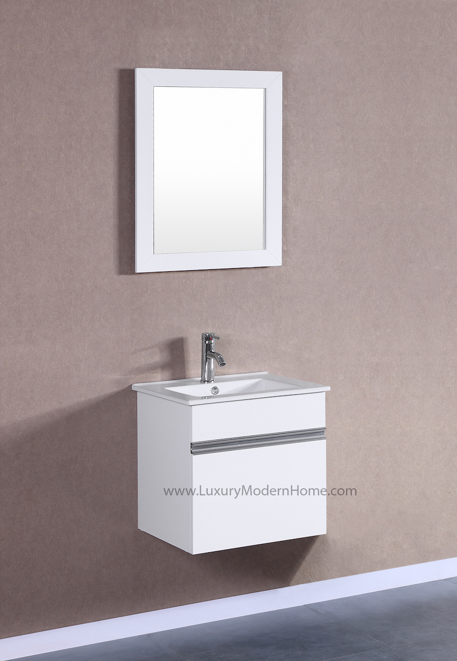 Bathroom Vanity With Sink Top.  PETRONIUS 20 Small White Vanity Sink