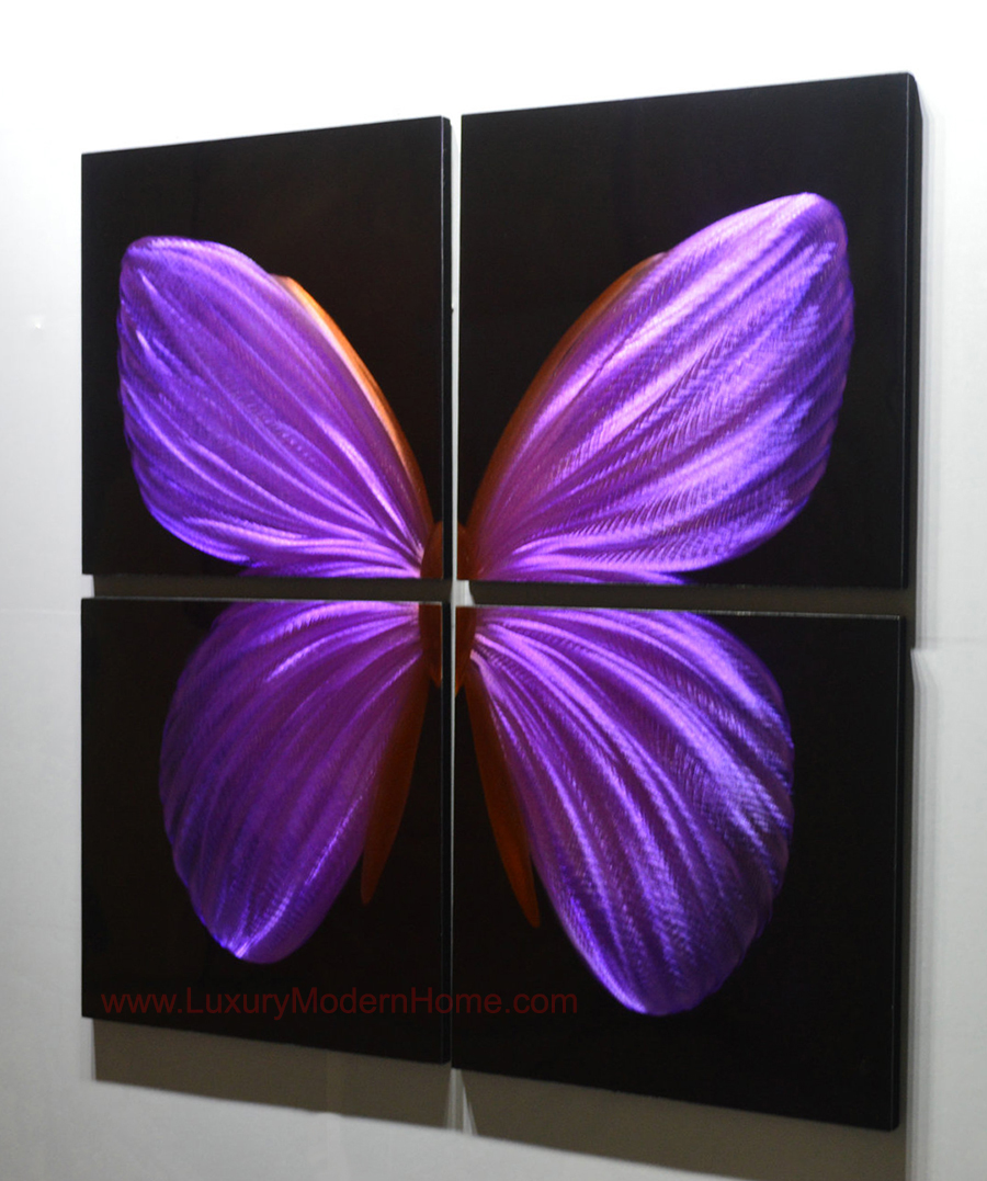 Purple Butterfly 32 Quot X 32 Quot Metal 3d Wall Art 4 Piece Art