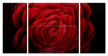 "Red Rose - 24"" x 48"" Metal 3D Wall Art - 3 Piece Art"
