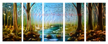 "River 1 - 24"" x 60"" Metal 3D Wall Art - 5 Piece Art"