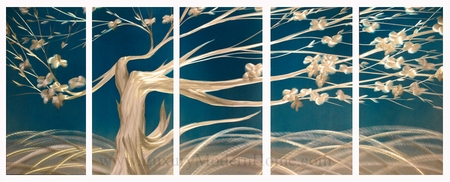 "Spring Flowering Tree 1 - 24"" x 60"" Metal Wall Art"