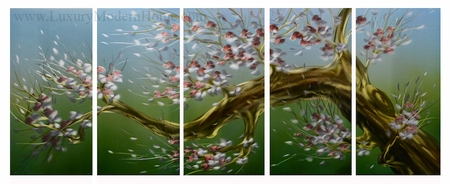 "Spring Flowering Tree 3 - 24"" x 60"" Metal Wall Art"