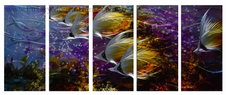 "Tropical Butterfly Fish 1 - 24"" x 60"" Metal Wall Art"