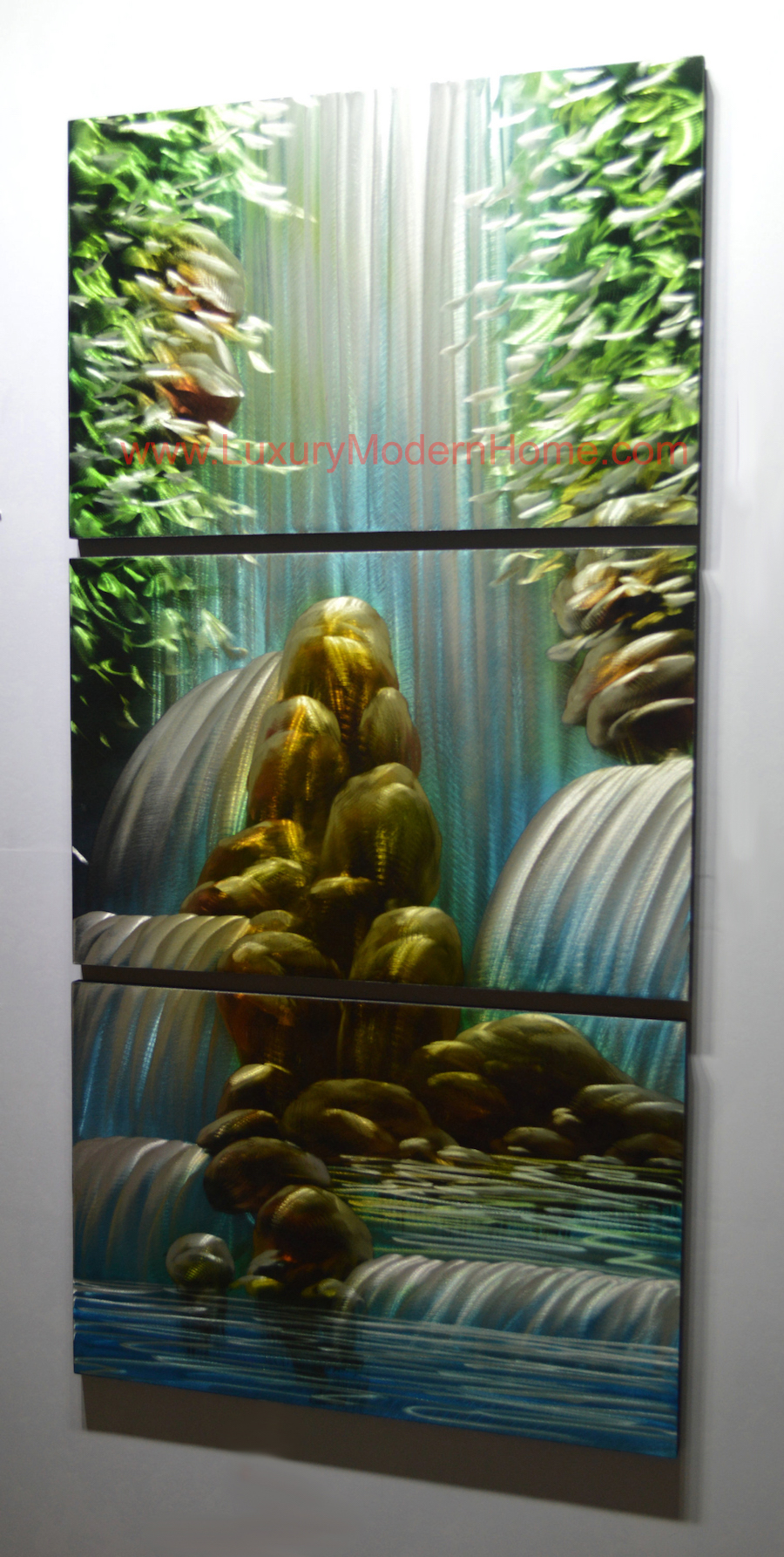 Waterfall 1 24 Quot X 48 Quot Metal 3d Wall Art 3 Piece Art