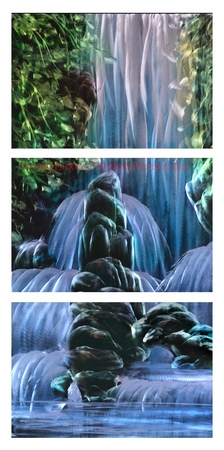"Waterfall 1 - 24"" x 48"" Metal 3D Wall Art - 3 Piece Art"