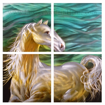 "White Horse - 32"" x 32"" Metal Wall Art"