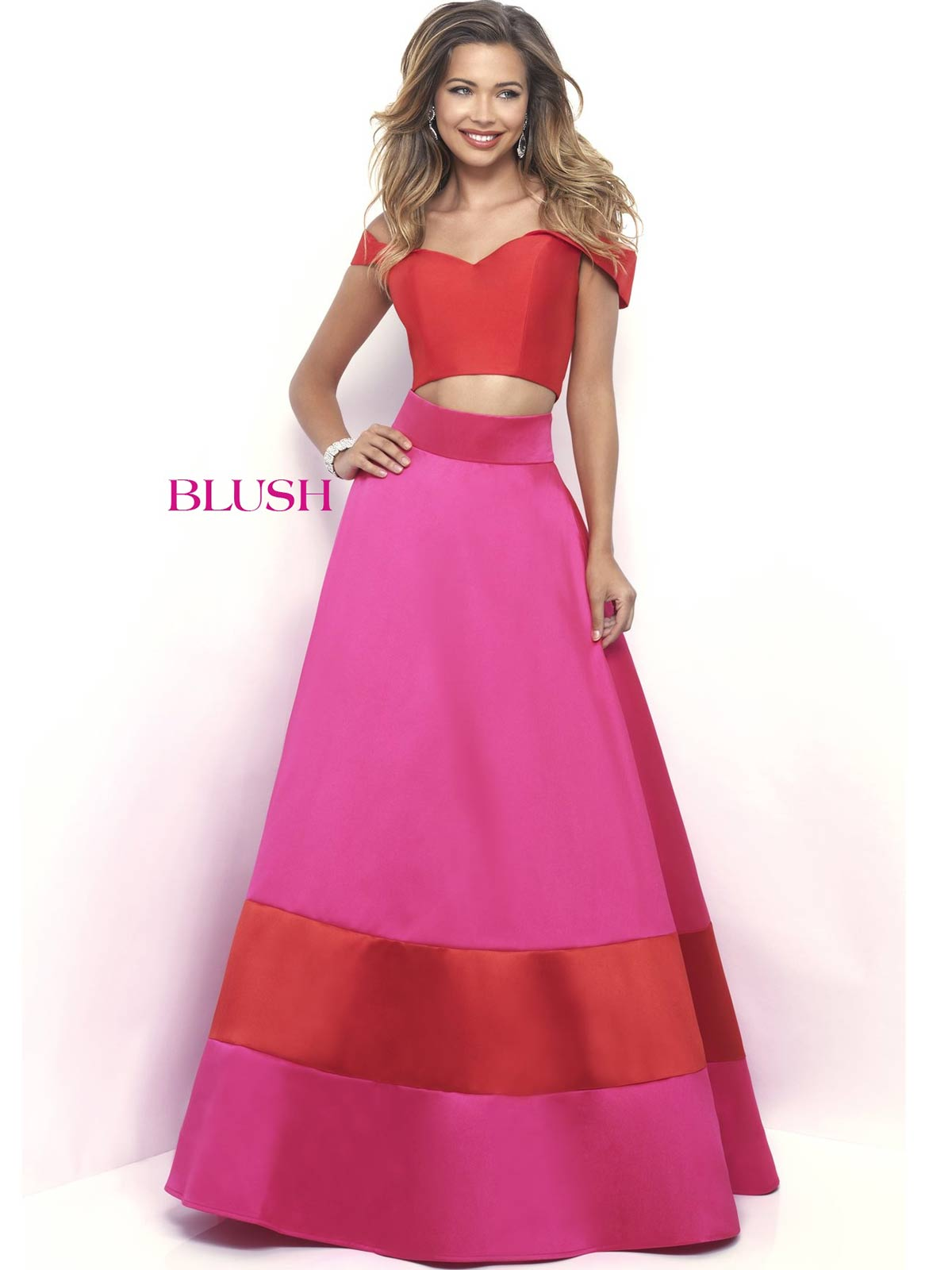 Blush 5623 Off The Shoulder Prom Ball Gown|DressProm.net