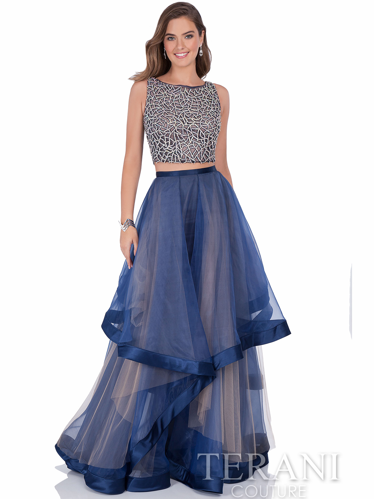 Terani Couture 1611P1369 Layered Illusion Skirt Prom Dress ...