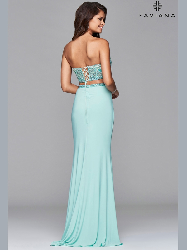 Faviana Social S7914 Beaded Crop Top Prom Dress|DressProm.net