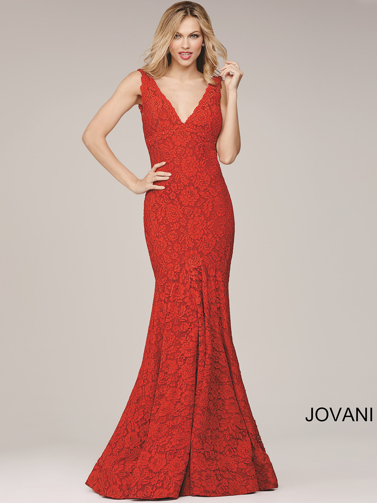 Jovani 33050 Lace Mermaid Prom Dress|DressProm.net