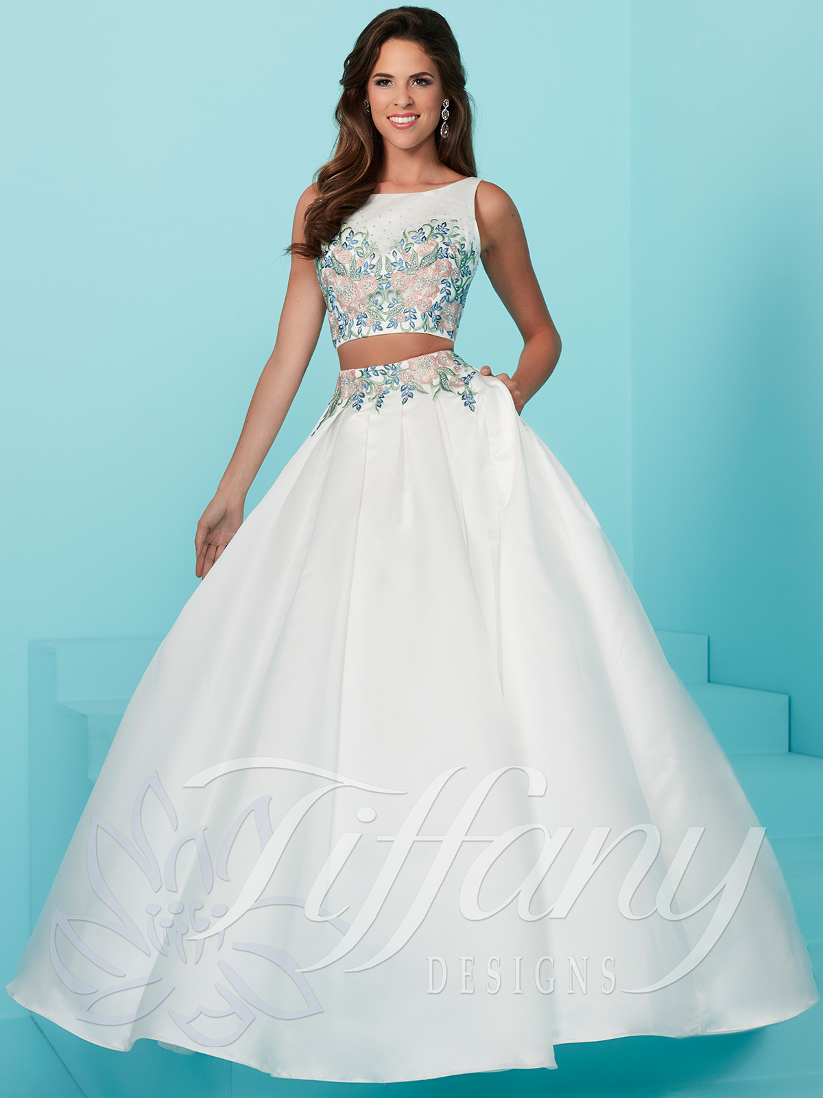 Two Piece Prom Gown By Tiffany Designs 16228authorized House Of Wu Retailer
