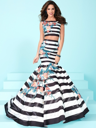 Striped Printed Formal 2-Piece Prom Gown