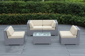 Outdoor Patio Furniture 5 Pc Sectional Seating Conversation Fully Assembled  Set.