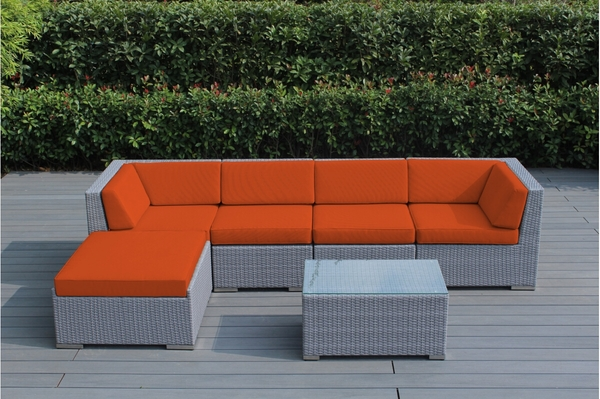 Ohana 6 Piece Outdoor Patio Wicker Furniture Sectional Conversation Set. 1