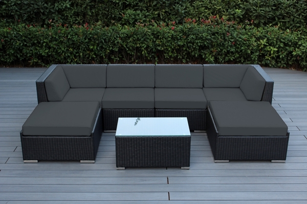 SPECIAL $300 OFF. NOW: $1099. Ohana All Weather Outdoor Patio Wicker  Furniture Sectional 7 Pc Seating Set ...