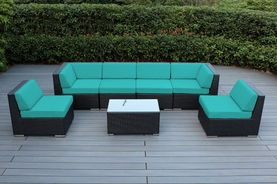 Ohana Outdoor Patio Furniture Wicker Sectional 7 Pc Seating Backyard Sofa  Set.