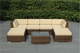 Ohana All-Weather  Outdoor Patio Wicker Furniture Sectional 7 pc Seating Set with Ottoman