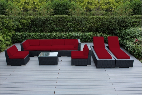 Beautiful Outdoor Patio Wicker Deep Seating Sofa and Chaise Lounge ...