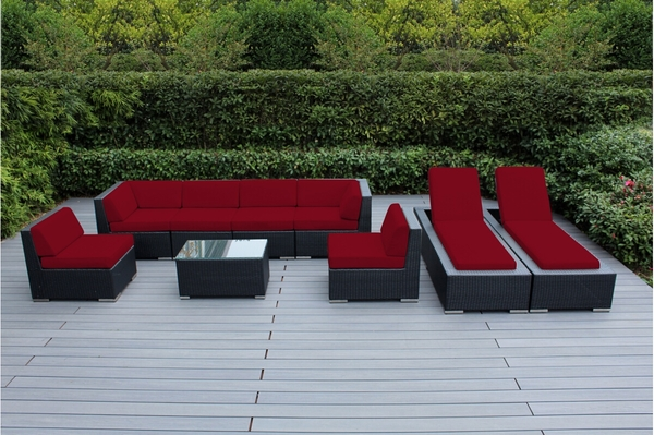 Amazing Ohana Outdoor Patio Wicker Furniture 9 Piece Sofa And Chaise Lounge Set  Red. 1. 2. 3