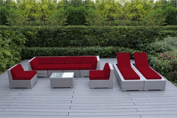 Ohana Outdoor Patio Wicker Furniture 9 Piece Sofa And Chaise Lounge Set  Red. 1. 2. 3