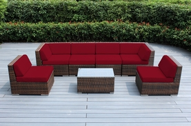 SPECIAL: Beautiful Ohana Outdoor Patio Furniture Mixed Brown Wicker  Sectional 7 Pc Couch Set .