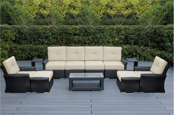 Ohana 11 Piece Outdoor Patio Wicker Furniture Luxury Seating Set with Sunbrella Cushions