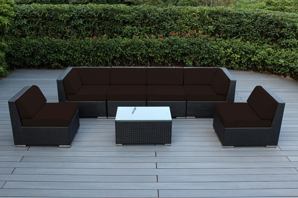 Ohana Outdoor Wicker Patio Furniture 7 Piece Sectional Set   Select  Sunbrella Colors