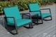 NEW: Ohana Patio Wicker Outdoor 3-Piece Rocking  Bistro Set- Two Chairs with Glass Coffee Table ( pnr2040)