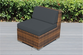 Ohana Outdoor Patio Wicker Furniture Armless Chair ( BLACK, MIXED BROWN,  GRAY  Wicker )