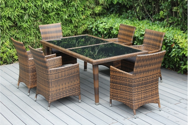 Ohana Outdoor Patio Wicker Furniture Dining Set With 6 Chairs   Mixed Brown  Wicker
