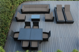 Outdoor Patio Wicker Furniture Sectional  Sofa, Dining and Chaise Lounge  16 pc set Total $4297 Additional 12% off = $3799     Now at $3499.00