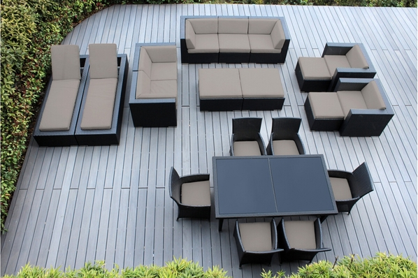Outdoor Patio Wicker Furniture Sectional 20 pc couch set