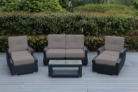 Ohana 7 Piece Outdoor Patio Wicker Furniture Sectional with Sunbrella Cushions