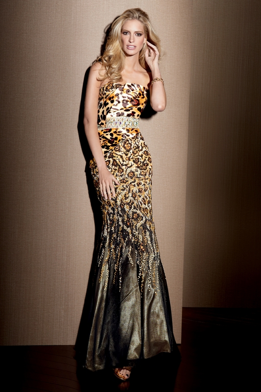 Leopard Prom Gown Alyce Designs Claudine Dress 2039: PageantDesigns.com
