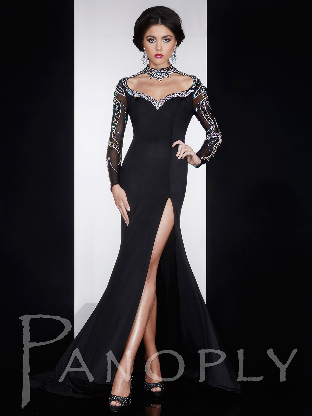 Beaded Collar Jersey Pageant Dress Panoply 14592|PageantDesigns.com